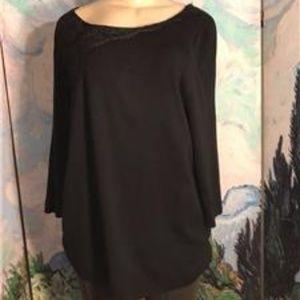 Lane Bryant 1X Black Lace Detail Rayon Tunic Top